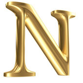 Golden matt letter N in perspective, jewellery font collection — Stock Photo