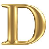 Golden matt letter D, jewellery font collection — Stock Photo