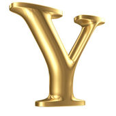 Golden matt letter Y in perspective, jewellery font collection — Stock Photo