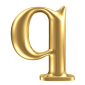 Golden matt lowercase letter q, jewellery font collection — Stock Photo
