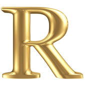 Golden matt letter R, jewellery font collection — Stock Photo
