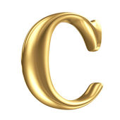 Golden matt letter C in perspective, jewellery font collection — Stock Photo
