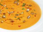 Hot pampkin cream soup — Stock Photo
