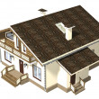 House of wooden timber. 3d model render. Isolation on white back - Stock fotografie
