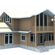 House of wooden timber. 3d model render. Isolation on white back — Stock Photo
