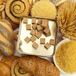 Stock Photo: Assortment of baked bread and pasta