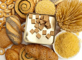 Assortment of baked bread and pasta — Stock Photo