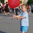 Little boy playing with air balloon — Stock Photo #1293483