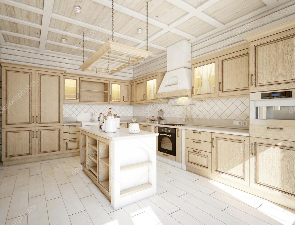 Cucina in casa con mobili bianchi di lusso — Foto Stock © alialka ...