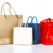 Bright gift bags isolated on white background — Stock Photo