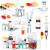 Kolekcja medyczne ampułki, butelki, tabletki i strzykawki — Zdjęcie stockowe