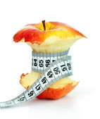 Apple core and measuring tape — Foto Stock