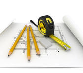 Architecture plan, tape measure and notepad — Stock Photo
