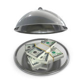 Restaurant cloche with dollars banknotes — Photo
