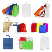 Shopping bags collection isolated on white background — Stock Photo
