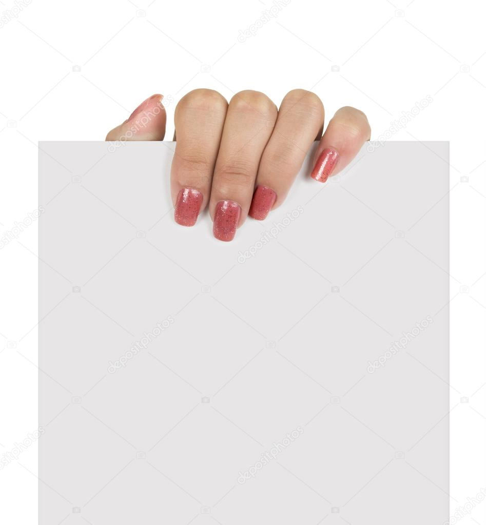 Woman Hand Holding Paper Hand Holding Paper Isolated on