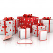 Gift boxes isolated on white background 3d illustration — Stock Photo