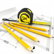 Architecture plan, tape measure and notepad — Stock Photo #31609631