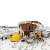 Construction plan in roll — Stock Photo