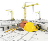 Construction plan in roll with scale and pencil — Foto Stock