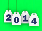 White tags with 2014 on green background — Stock Photo