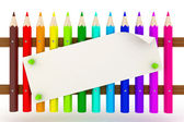 Fence of colored pencils — Stock Photo