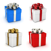 Gift box set, with ribbon like a present. — Stock Photo