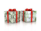 Gifts wrapped in dollar and euro bills — Stock Photo