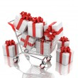 3d shopping cart with gift boxes — Stock Photo
