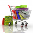 Shopping in trolley with bags — Stock Photo