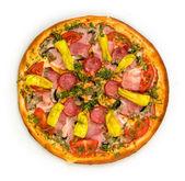 Pizza with ham and mushrooms — Stockfoto