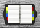 Blank lined notebook with colorful bookmark — Stock Photo