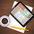 PC tablet with cup of coffee and pencil — Stock Photo