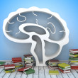 Book shelf in form of brain — Stock Photo