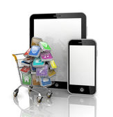 Shopping cart with icons on Tablet PC — Stock Photo