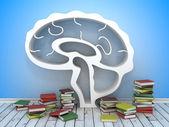 Book shelf in form of brain — Stock Photo
