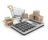 Nákupní košík s krabicemi a kalkulačka — Stock fotografie