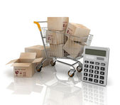 Shopping cart with boxes and calculator — Stock Photo