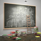 Ladder next the blackboard — Stockfoto