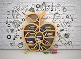 Estante de libro en forma de manzana — Foto de Stock