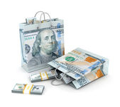 Shopping bags with dollar money — Stock Photo