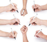 Set of hand with pen writing — Stock Photo
