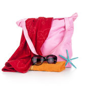 Beach bag with beach accessories — Стоковое фото