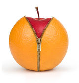 Diet concept, apple inside orange — Stock Photo