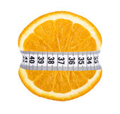 Orange slice with measurement — Stockfoto