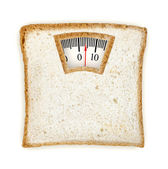 Imaginary weighing scales made of bread slice isolated on white — Stockfoto