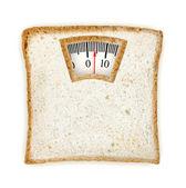 Imaginaire weegschalen gemaakt van sneetje brood geïsoleerd op wit — Stockfoto