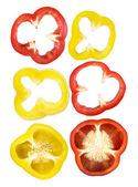 Set of sliced red, yellow bell pepper — Stock Photo
