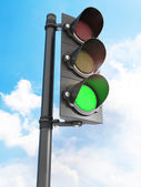 Three lights are on in front of blue sky — Stock Photo