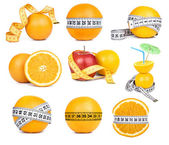 Orange fruit and tape measure — Stock Photo
